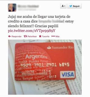 Tuit con imagen tarjeta de crédito