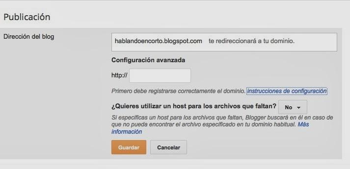 Configuración avanzada en Blogger