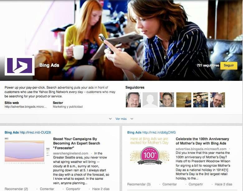 Paginas de producto de LinkedIn: Microsoft Bing Ads