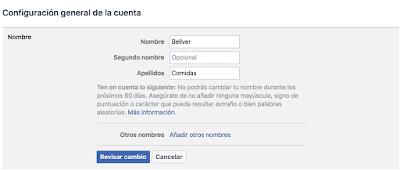Cambiar nombre usuario en Facebook