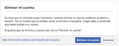 Eliminar cuenta en Facebook