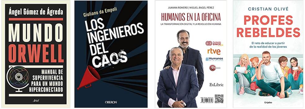 Libros sobre tecnologia y redes sociales: Mundo Orwell, Los ingenieros del caos, Humanos en la oficina y Profes rebeldes