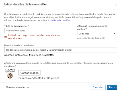 Crear newsletter en LinkedIn