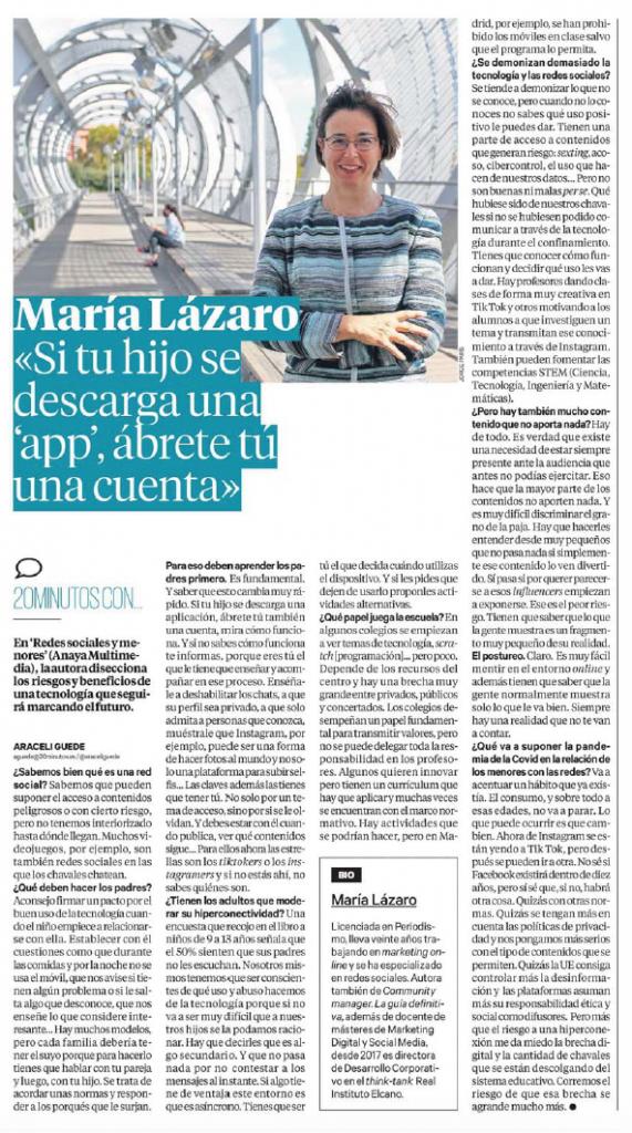 Entrevista a María Lázaro en 20 Minutos