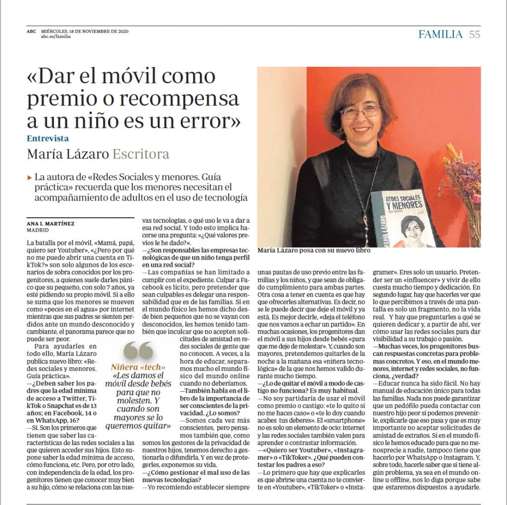 Entrevista a María Lázaro en ABC